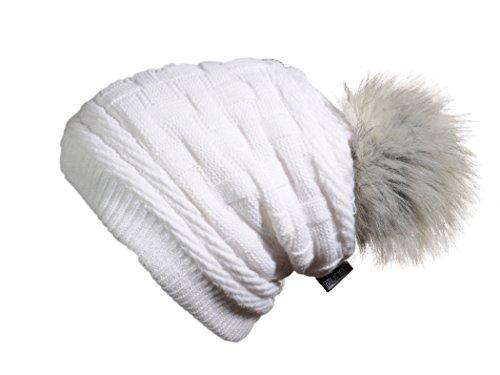 Miuno® Kunstfell Bommelmütze Strickmütze Beanies mit Teddyfutter MJ166 (Weiß)