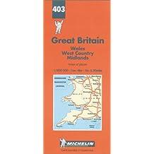 Carte routière : Pays de Galles - Angleterre Sud-Ouest et Midlands, N° 403