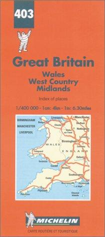 Carte routière : Pays de Galles - Angleterre Sud-Ouest et Midlands, N° 403 par Cartes Michelin