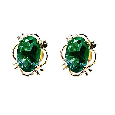 9ct Yellow Gold Real Emerald Oval Stud Earrings - May Birthstone - Summer Sunshine