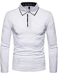 BUSIM Men's Long Sleeved Shirt Autumn Solid Color Personality Diagonal Stripes Stitching Casual Slim Lapel T-Shirt...