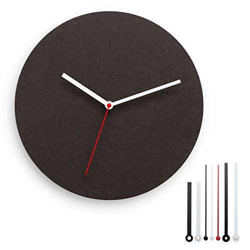 CLOKK 1-SB - Individualisierbare Minimal Designer Wanduhr schwarz, Ø 30 cm aus MDF mit leisem Uhrwerk ohne Ticken, inkl. 7 Zeigern, ideal für Zuhause und Büro