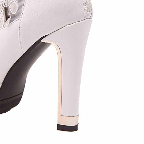VogueZone009 Damen Rund Zehe Hoher Absatz Wasserdicht Plattform Pu Leder Stiefel Weiß