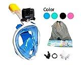 ecofun Schnorchelmaske Tauchmaske Panorama Vollgesichtsmaske für Jugendliche und Erwachsene mit ansteckbarer GoPro-Halterung