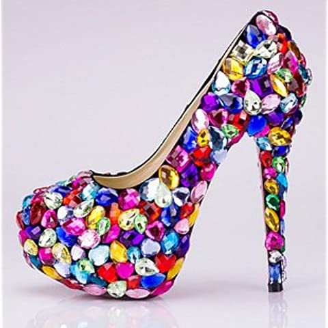 xieshijie-hlx Candy Color cristallo/strass/paillettes Trim Super tacco