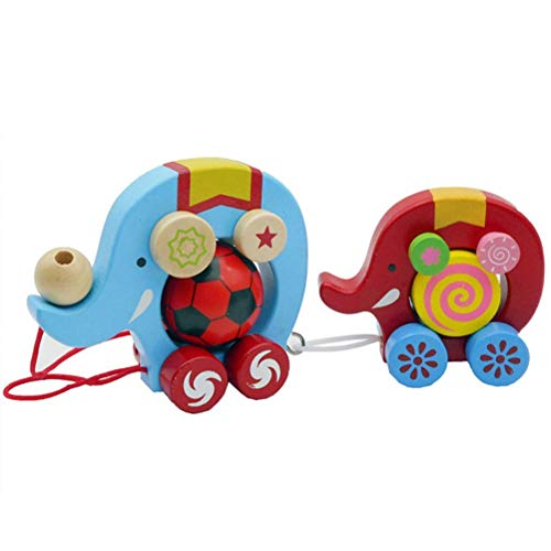 TOPCOMWW Creative Kids Wooden Twisting Dragging Car Cartoon Double Elephant Wooden Push and Pull Toy Kids Early Development Kids Toy