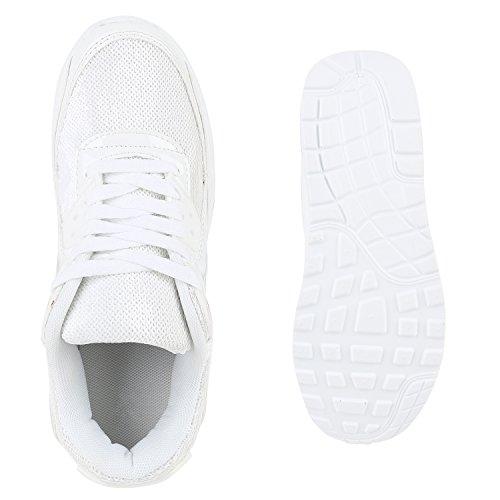 Damen Herren Unisex Sportschuhe Neon Runners Laufschuhe Sneakers Weiss Bianco