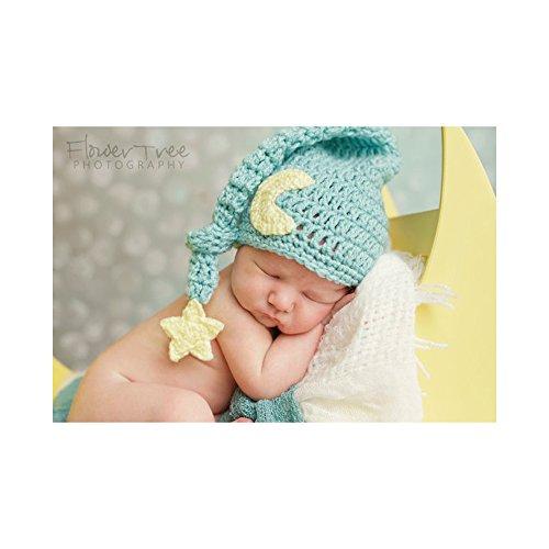 Tbslee Handgemachte Neugeborenes Baby Fotografie Prop, Kinder Fotografie Kostüm, Neugeborene Foto Hut, Mond und Sterne Aussehen,Blue
