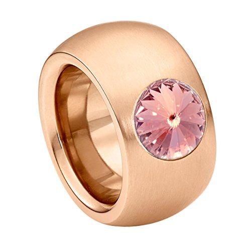 Heideman Ring Damen Coma 14 aus Edelstahl Rosegold farbend matt Damenring für Frauen mit Swarovski Stein Kristall Light Rose pink im Fantasie Edelsteinschliff 10mm