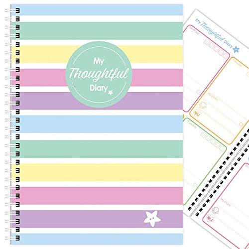My Thoughtful Tagebuch, 12 Monate, Mood Tracker, handgefertigt, A5 (12,8 x 21,1 cm) Candy Stripes Depression Candy