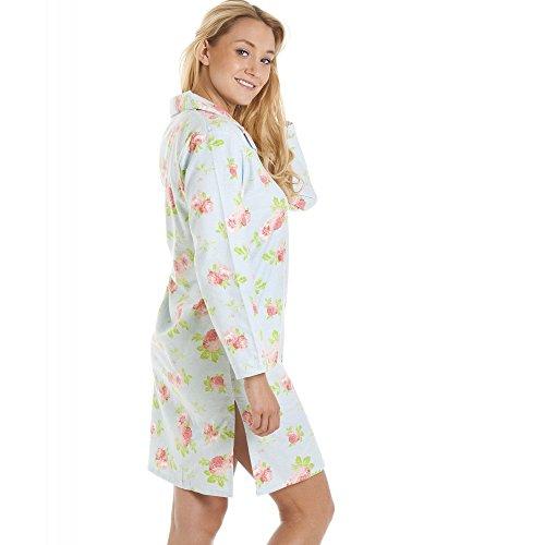 Wincy - camicia da notte motivo floreale - 100% cotone Blu