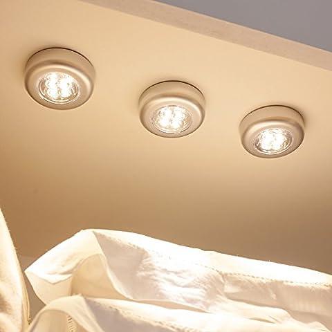 Lot de 3 Lampes Spots Autocollants à Piles avec LED