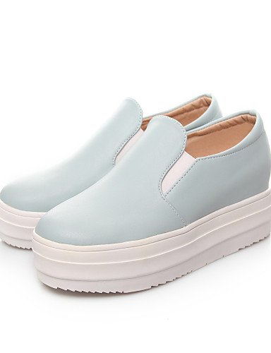 ZQ Scarpe Donna - Mocassini - Casual - Punta arrotondata - Plateau - Finta pelle - Blu / Rosa / Bianco , white-us5.5 / eu36 / uk3.5 / cn35 , white-us5.5 / eu36 / uk3.5 / cn35 blue-us5 / eu35 / uk3 / cn34