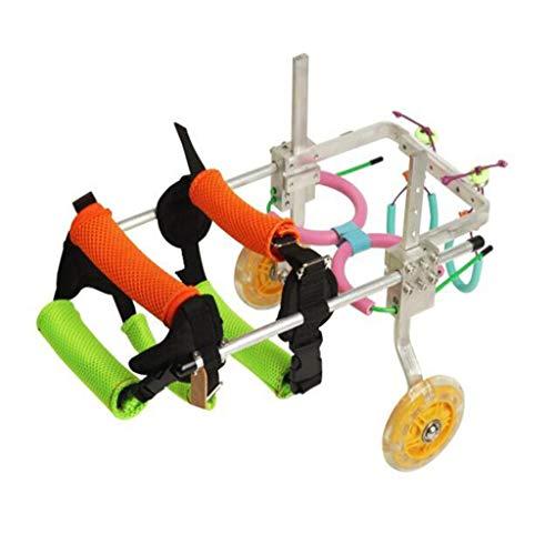 LKKSP Tamaño para Perro Carrito de Acero Inoxidable Mascota/Gato Perro Silla de Ruedas Rehabilitación de Patas traseras para Perros discapacitados