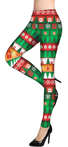 Damen Lustig Weihnachten Leggings Weihnachtskostüme Costumes Winter-Leggings Elastische Dehnbare Hose 3D Print Weihnachtsmann Einhorn Rentier von YOU LOOK UGLY TODAY