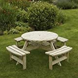 Devon Picknicktisch, rund, 8 Sitzer