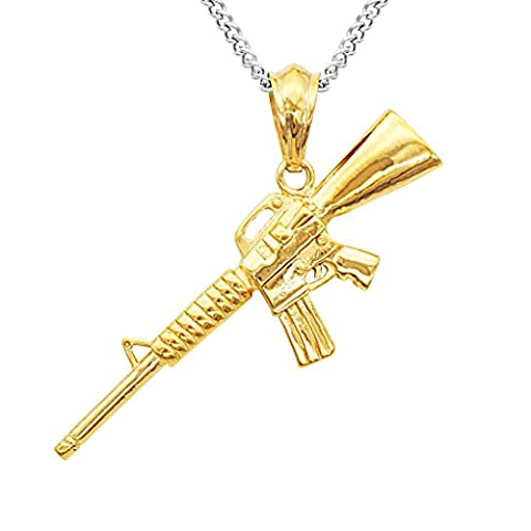 Bijou des Hommes Collier Pendentif Mini Fusil de l'armée Cadeau