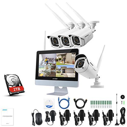 """ANNKE Überwachungskamera Set Außen Kabellos mit 4 x 1080P Wlan WiFi Überwachungskamera 12\"""" HD 2,0MP Monitor und 2TB Festplatte Videoüberwachungssystem für Hause Innen Outdoor Sicherheit mit Nachtsicht"""