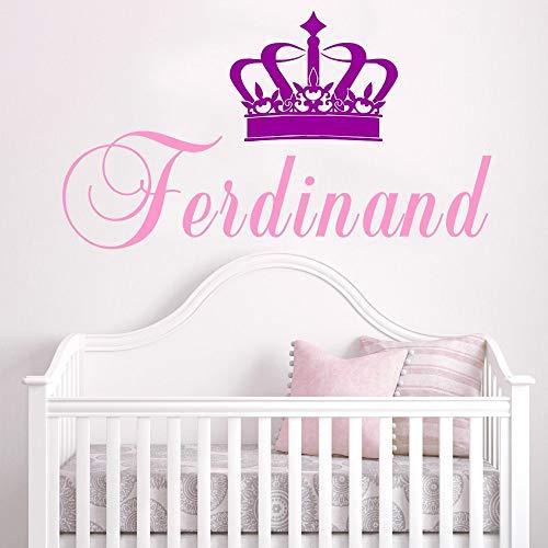 Ajcwhml Personalisierte Mädchen Name Wandaufkleber Krone Vinyl Wandtattoo Kinderzimmer Baby Schlafzimmer Dekoration Kinderzimmer Wandkunst Poster 24cm - 24-zoll-vinyl-sitz