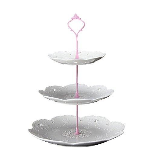 3-tier-dessert-stand (ZZH 3-Tier Dessert Stand Gebäckständer Kuchenständer Cupcake Stand Mit Krone Form Griff Für Party Hochzeit Home Decor, Rosa)