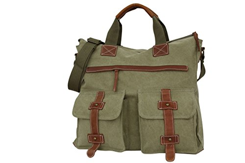 AMBRA Moda Handtaschen, Schultasche, Schultertasche,Umhängetasche, Wochende Tasche, Aktentasche, Canvas Echtleder Tasche CL925 Armeegrün