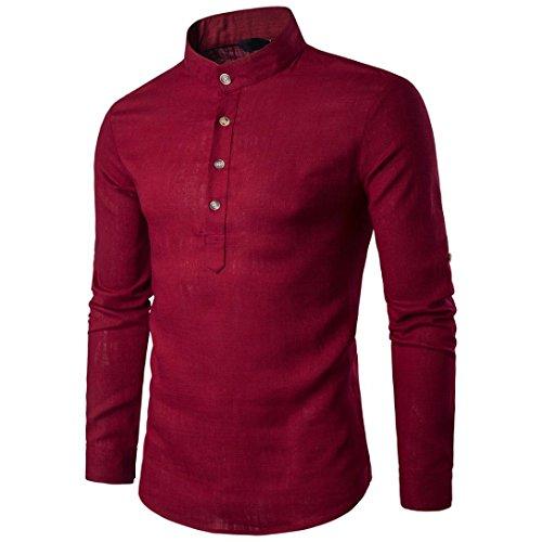Btruely T-Shirt Herren Langarm Slim Fit Hemden Persönlichkeit Oberteile Knopf Top Freizeithemd Holzfällerhemd Mode Langarm Hemden Männer Pullover Sweatshirts (XL, Rot) -