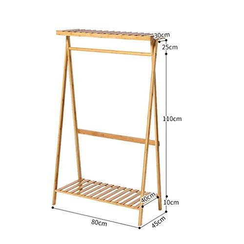 Qiangzi Kleiderständer Kleiderbügel Floorstanding Schlafzimmer Einfache Garderobe Massivholz Montage Regal Mobile Große Kleiderbügel Kleiderbügel Kleider Lagerregale für Wohnzimmer ( Farbe : A layer , größe : 80cm )