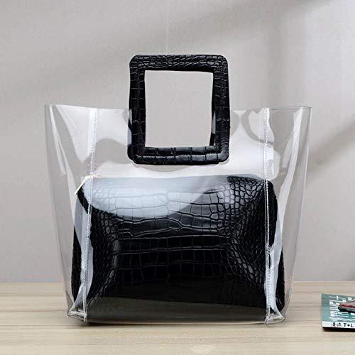 cineman Transparente Umhängetasche, Koreanische Art Frauen Einkaufstasche klare transparente zusammengesetzte Tasche Handtasche Black Transparent Tasche