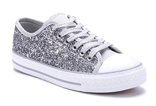 Schuhtempel24 Damen Schuhe Low Sneaker Silber flach Glitzer