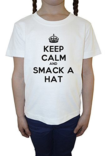 keep-calm-and-smack-a-hat-blanco-algodon-nina-ninos-camiseta-manga-corta-cuello-redondo-mangas-white