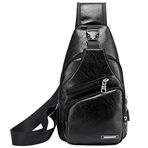 Rullar Herren Sling Bag PU Leder Brusttasche Umhängetasche Wasserresistent Kuriertasche Rucksack Schultaschen Tragetasche Sporttasche Wandern Reisen Tasche Schwarz