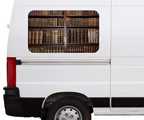 Autoaufkleber alte Bücher Buch Regal antik Bibliothek Car Wohnmobil Auto tuning Digital Druck Fenster Sticker LKW Bild Aufkleber 21B077, Größe 3D sticker:ca. 161cmx 96cm - Bibliothek Regale