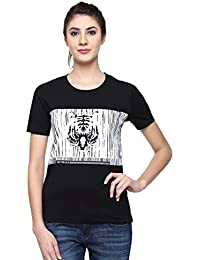 Wolfpack Baracode Tiger Black Round Neck Half Sleeves 100% Cotton Girls/Womens T Shirts for Wildlife Lovers