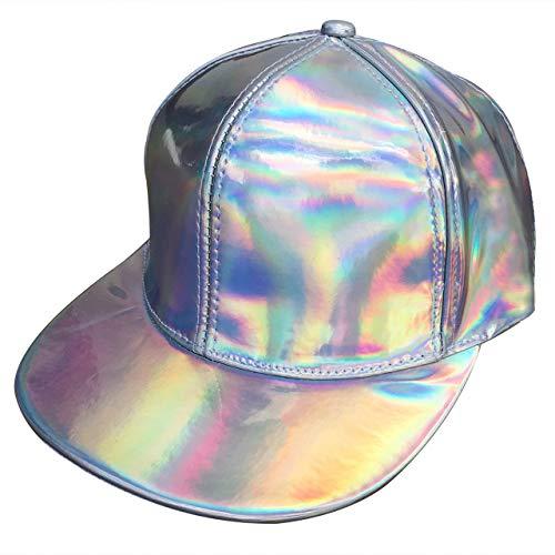 7f287549c9e52e CHIC DIARY Unisex Snapback Hats, Adjustable Hip Hop Laser Hologram Flat  Brim Baseball Cap (