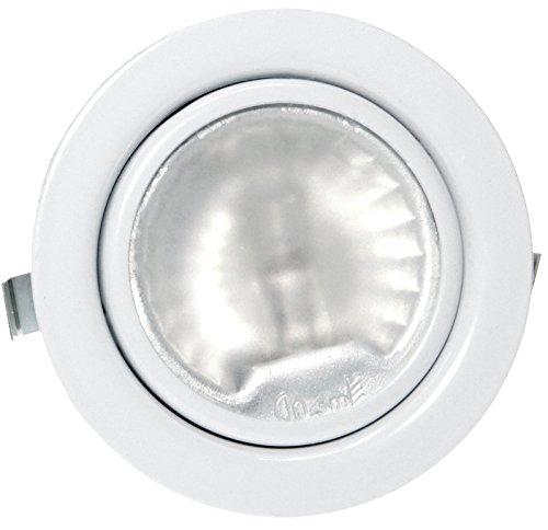 1X Pack 12 Volt Möbel Einbaustrahler Luna inklusive 20Watt Halogenleuchtmittel/dimmbar/AMP Stecker und Kabel Farbe: Weiß