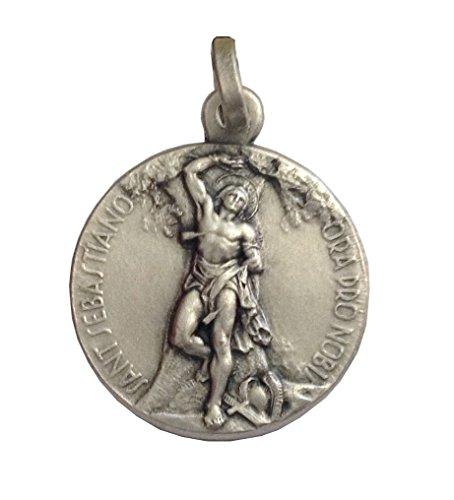 Medaglietta San Sebastiano In Argento Massiccio 925 - 925 Sterling Silver Saint Sebastian Medal