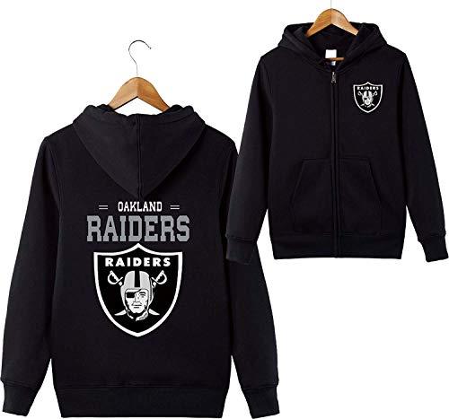 ZXTXGG Männer 3D Hoodies Oakland Raiders NFL Football Team Uniform Muster Digitaldruck Strickjacke Reißverschluss Liebhaber Kapuzenpullis(XXXL,Schwarz) - Für Nfl Cowboys Männer Sweatshirts