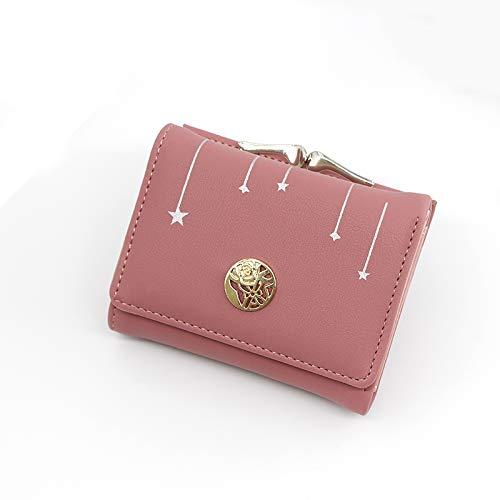 ZFKH Mode-Taste PU Leder Weibliche Geldbörse Tasche Neue Kupplung Brieftasche Frauen Bogen Kurzen Karte Halter Nette Kleine Brieftaschen,Rot