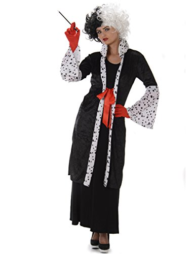Cruella Evil Madame Ladies Fancy Dress Halloween Villain Womens Adults Costume (Bösewicht Kostüme Für Frauen)