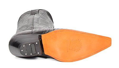 House of Luggage Bottes de Cowboy en Cuir Véritable Pour Homme Talon Western Longueur du Mollet Bout Pointu Chaussures HLG03CA Noir