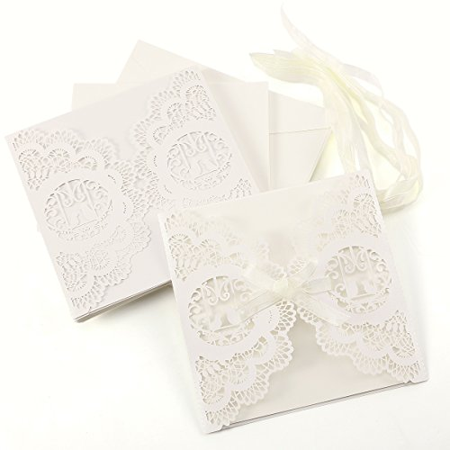 10er Ivory Weiss Einladungskarten Elegante Vogelkäfig Spitze Design mit Karten, Umschläge, Einlegeblätter zum Selbstbedrucken Hochzeit Geburtstag Taufe Party Einladung