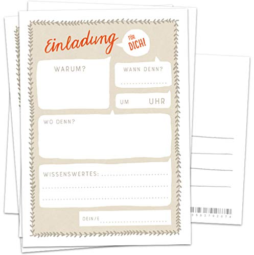 10 Einladungskarten - Einladung für dich! | Beige Weiß Rot | Postkarten Einladungen zum Geburtstag, Party, Einzug, Abschluss, Abschiedsfest u.v.m. | retro Design mit Adressfeld