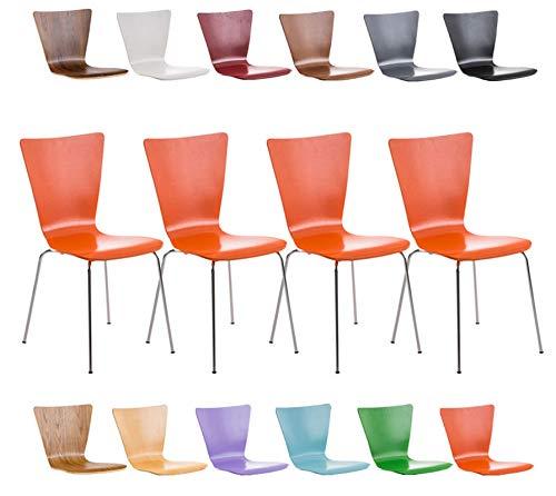 Clp set 4 sedie impilabili aaron in legno e metallo | sedia ospite facile da pulire design classico | sedia attesa ergonomica, portata max 120kg arancione