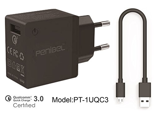 Penibel [Qualcom Quick Charge 3.0] 18W USB Turbo fast Charger backward fully compatible with Qualcom Quick Charger 2.0 for Xiaomi Mi 5, LeTV Le MAX Pro, HTC One A9, LG G5, HP Elite x3, LeTV One Max, Moto G Turbo Edition, Moto X Force, Samsung galgaxy S6, Galaxy S7, Google Nexus 6, Samsung Note 4, Note 5, Galaxy A8 Kappa, LG G4, HTC one M8 Sony xperia z4/23 and other compatible devices. for QC 3.0 and QC 2.0 device. [ Product comes without cable]