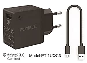 Penibel 18W USB Turbo Charger Adapter with 1M Cable for Smartphones & Tablets (Black)