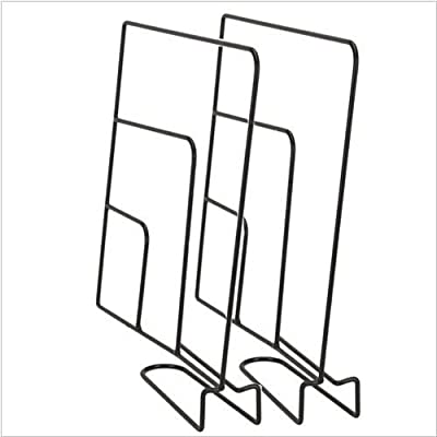 25cm Shelve Separator, Divider Set of 2 On The Shelf In The Closet, Black Metal, Room.
