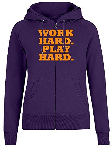 Hart Arbeiten. Mühevoll Spielen. - Work Hard. Play Hard. Zipper Hoodie Jumper Pullover for Women 100% Soft Cotton Womens Clothing Small (Hard Hoodie Play Hard Work)