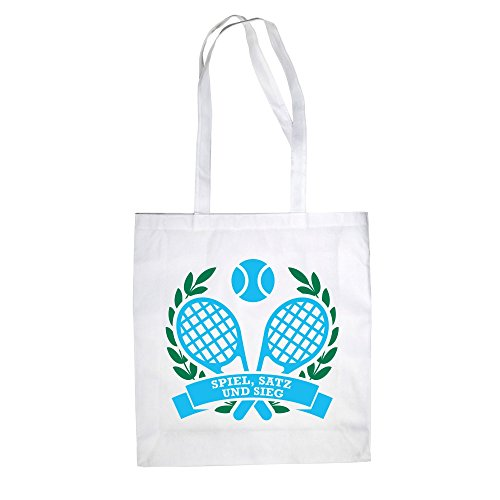 Baumwolltasche Jutebeutel Tennis - Spiel, Satz und Sieg - von SHIRT DEPARTMENT royalblau-weiss-apfelgrün