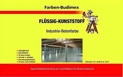 Farben-Budimex Flüssigkunststoff / Industrie-Betonfarbe / Silbergrau RAL 7001 / 2,5 L / zum Versiegeln u. Beschichten von Beton, Holz u. Metall / tritt-stoß- u. abriebfest / für höchste Ansprüche / empfohlen für Handwerk u. Industrie