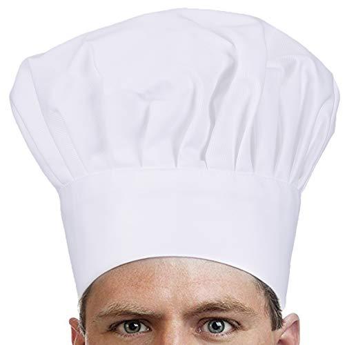 Ulife Mall Cappelli da Cuoco Adulto Regolabile Elastico Cappelli da Chef Professionale, Accessori da Cucina per Pasticcere, Chef - Bianco, Unisex